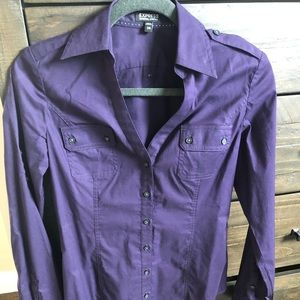 Express Purple Button Down - XS